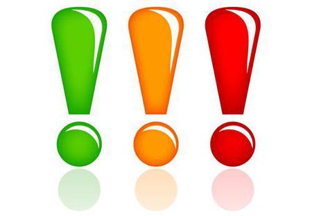 Tre utropstegn i forskjellige farger
